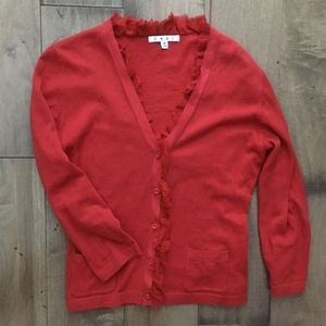 CAbi Red Ruffle Trim Button Up Party Cardi Sweater